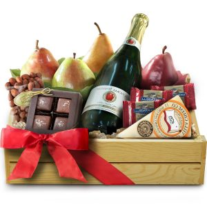 Champagne-chocolate-fruit-gift-Basket