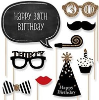 Adult 30th Birthday - Photo Booth Props Kit