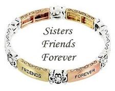 Sisters Stretch Bracelet D11 Clear Crystal Tri Tone