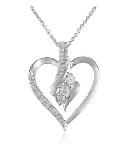 1 Sterling Silver Diamond Heart Pendant Necklace