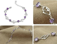 Sterling Silver Double Purple Heart Bracelet