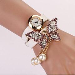 Women Faux Pearls Rhinestone Butterfly Bracelet