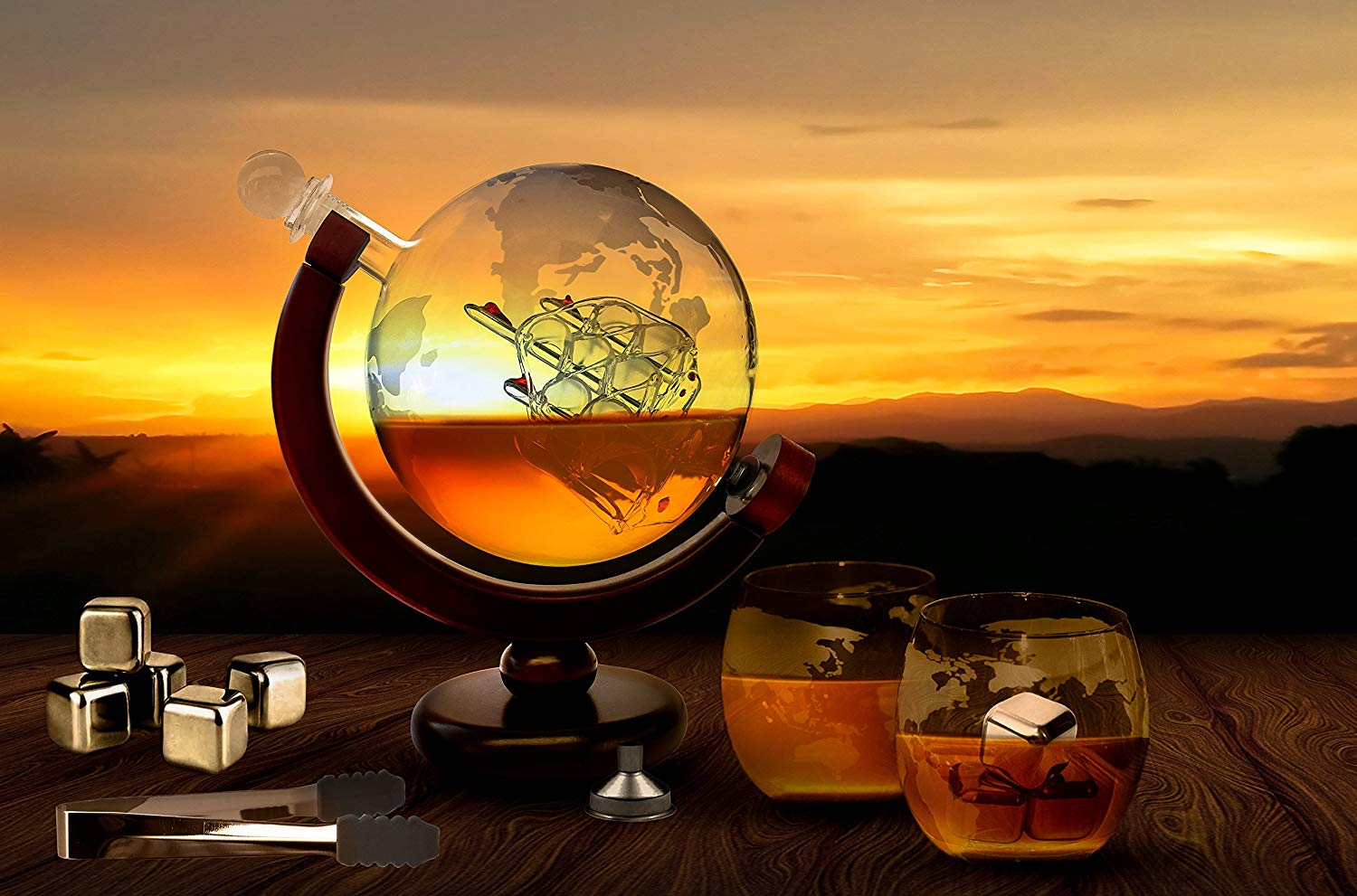 Etched Globe Liquor Decanter