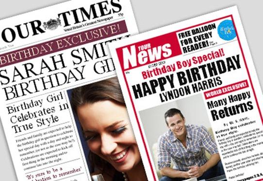 Newspaper birthday wish surprise