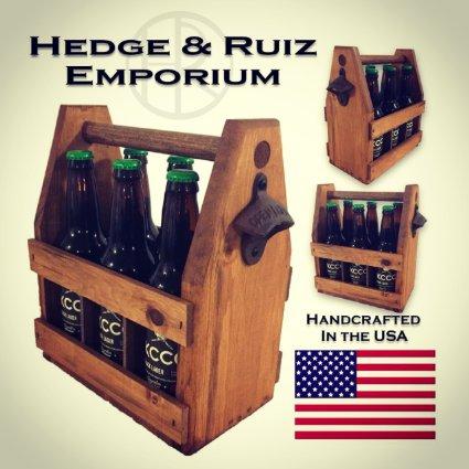 Wooden Six Pack Beer Tote