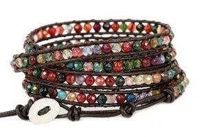 Multicolor lock leather bracelet