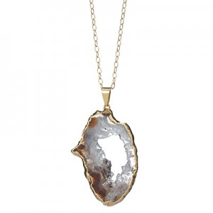 Amethst geode necklace