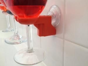 Bathtub shower wine glass holder