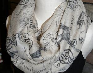 Paris Eifel Tower Cafe Village Black Paris Pattern Infinity scarf-Fashion
