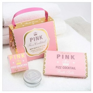 pink fizz lip balm & bath salts gift