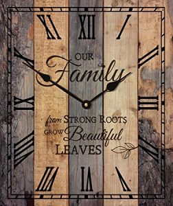Our-Family-Strong-Roots-Beautiful-Leaves-Vintage-Wood-Look-Wall-Clock