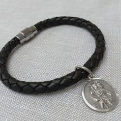 St Christopher Leather Wristband