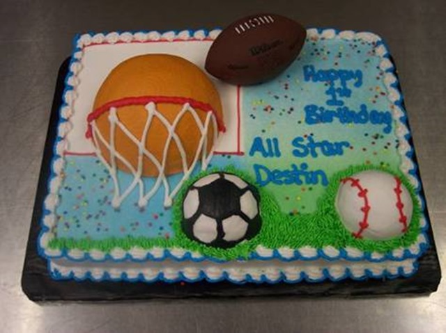 Soccer And Basketball Birthday Cakes