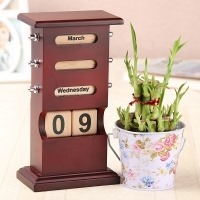 Desk Calendar With Bamboo Plant