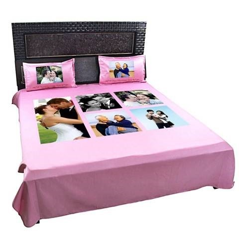 Personalized Photo Collage Double Bed Sheet And Pillow Cover