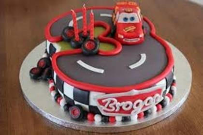 Car and track birthday cake
