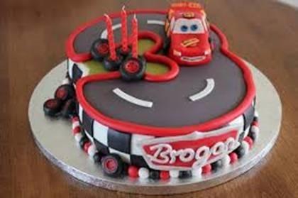 Car and track birthday cake