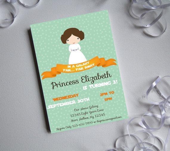 Fancy Birthday Princess Leia Party Invitations