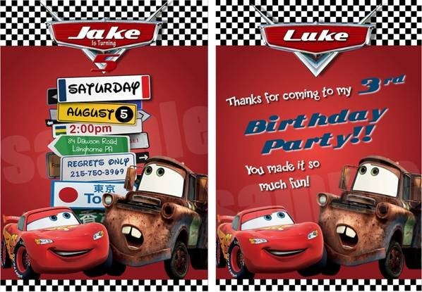 Plan the invitation also in car race theme