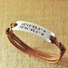 Custom Bracelet GPS Longitude & Latitude Stamped