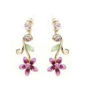 gifts-for-mom-Purple flower golden pair earrings