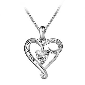 I Love You Mom Sterling Silver Heart Pendant