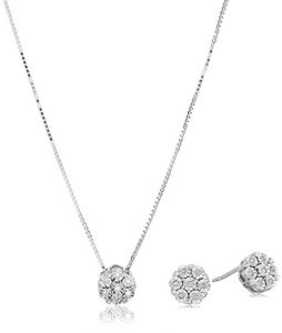 Sterling Silver Diamond Jewelry Set