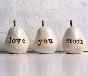 Handmade Pears with Engraved Love You Mom Message
