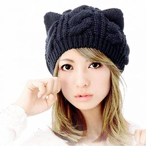 Zerowin Woollike Knitted Kitty Ears Headgear
