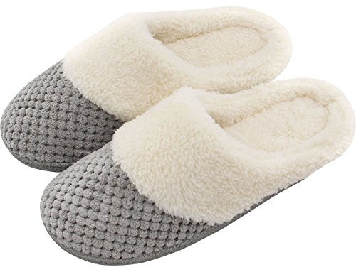 Women Soft Gridding Plush Lining Slip-on Memory Foam Indoor Slippers