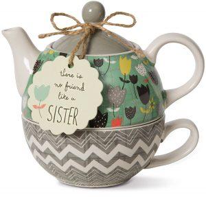 Pavilion Gift Company Bloom Sister Ceramic Tea Pot