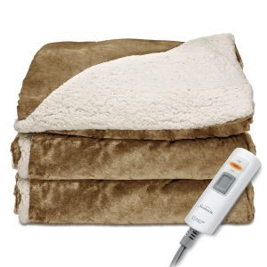 Sunbeam Reversible Sherpa Throw Blanket with Controller