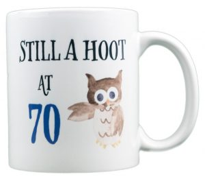 70th Birthday Mug with an Owl
