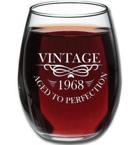 1968 50th Birthday Wine Glass