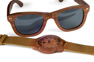 Men's Wood watch And Sunglasses