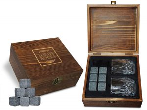 Whiskey stones in a wooden box