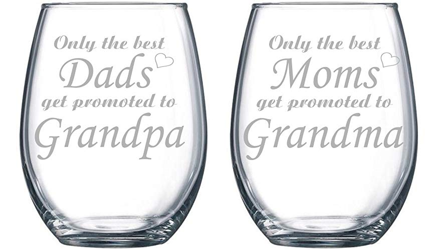 Stemless wine glasses for grandparents