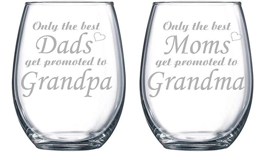 Stemless wine glasses for grandparents
