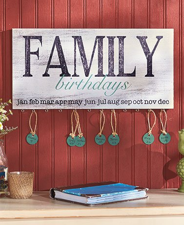 Wooden family birthday plaque