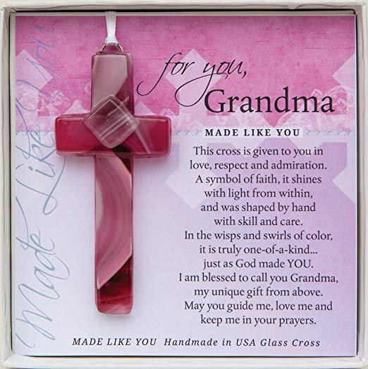 Handmade glass cross with grandma poem