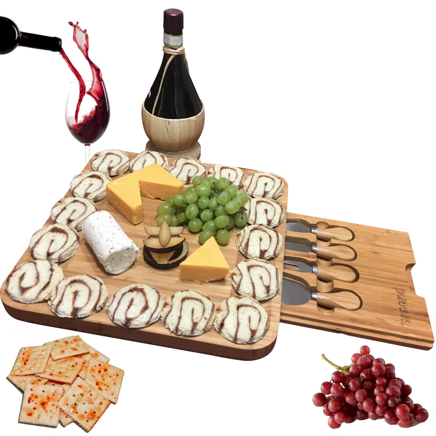 Bamboo cheese board with cutlery set and meat server