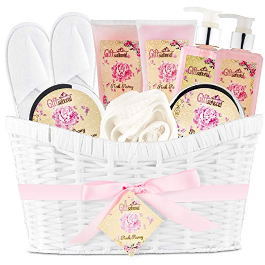 Pink Peony spa bath gift basket set