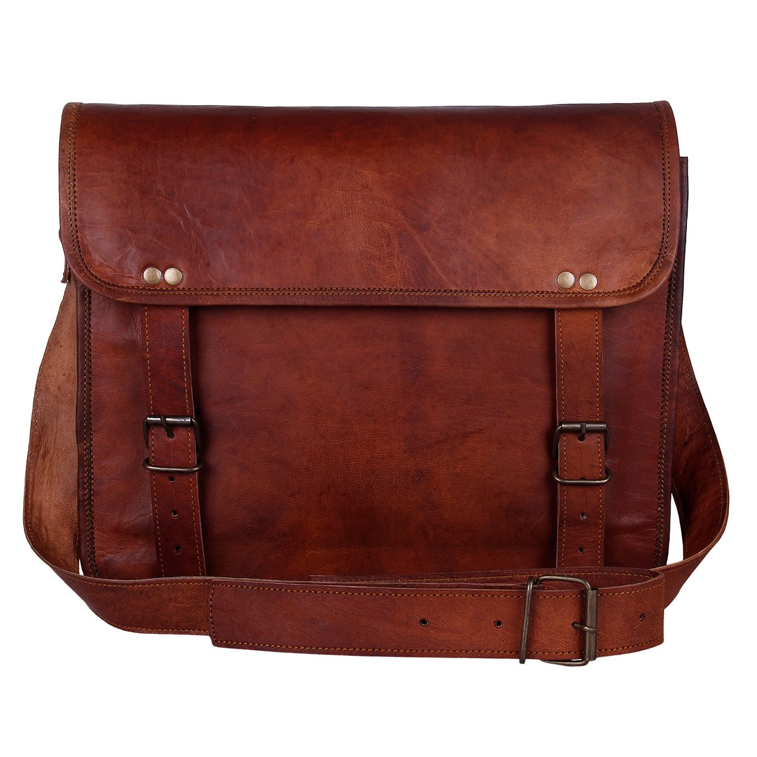 "Rustic Round 13"" genuine leather laptop bag"