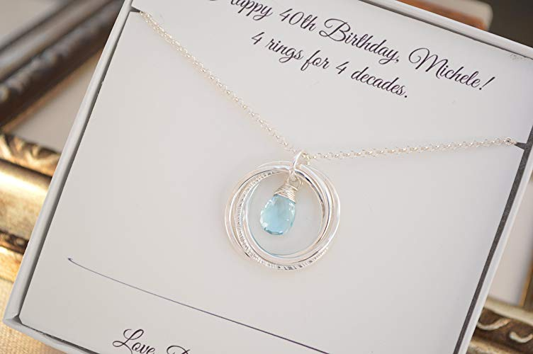 4 rings blue topaz necklace