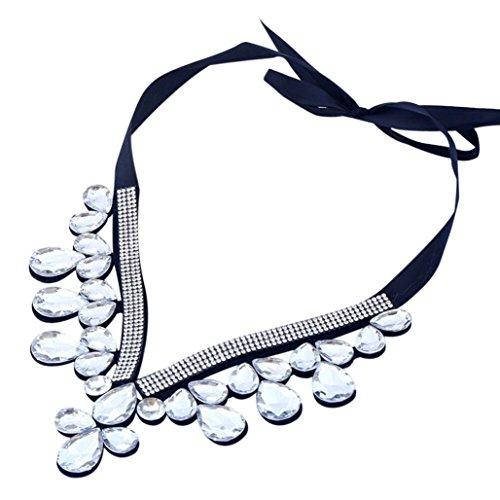 Topunder women flower choker Bib adjustable necklace