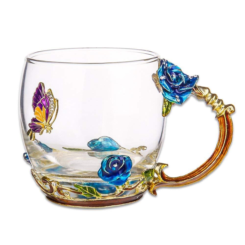TIANG flower glass tea mug