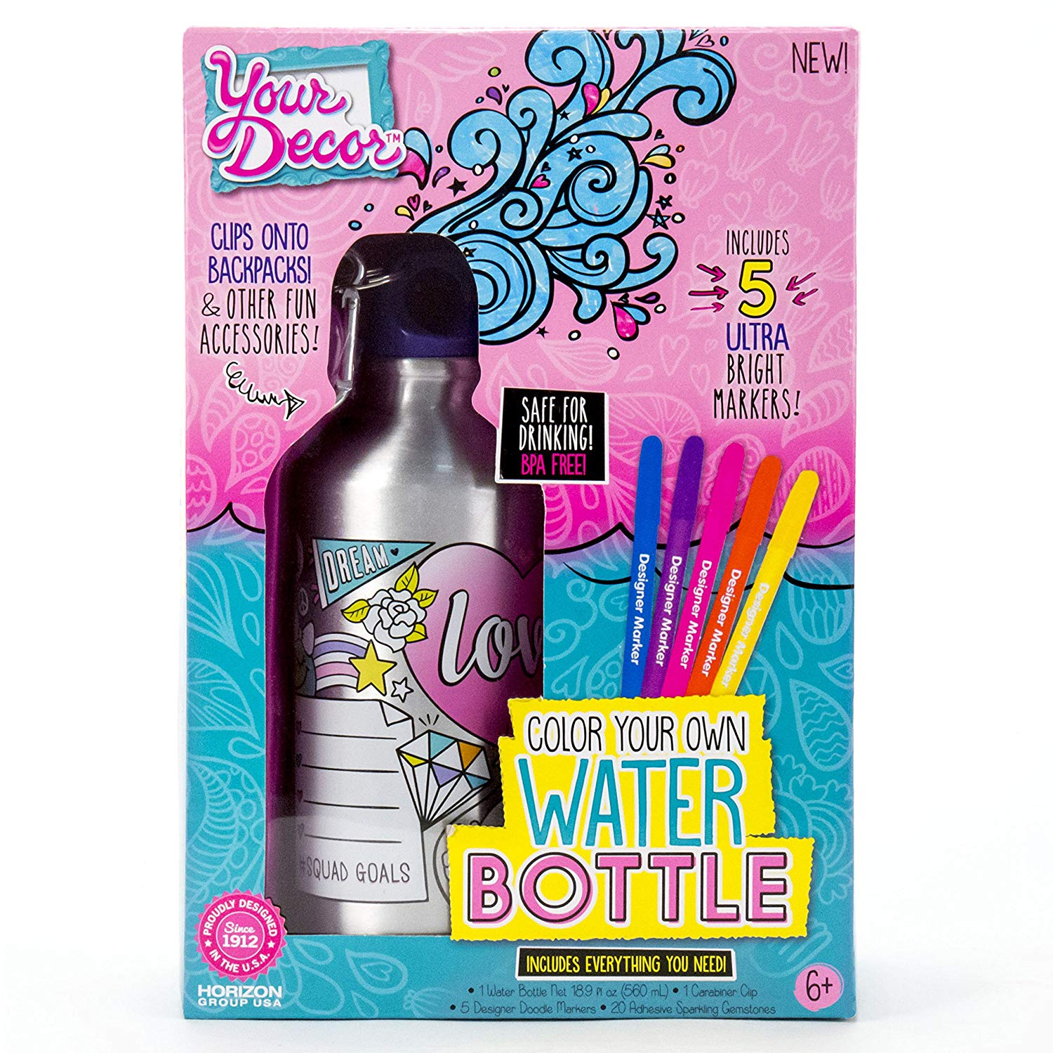 Color your own water bottle set by Your Decor