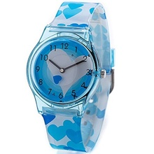 Colorful floral cartoon soft band watch for girls