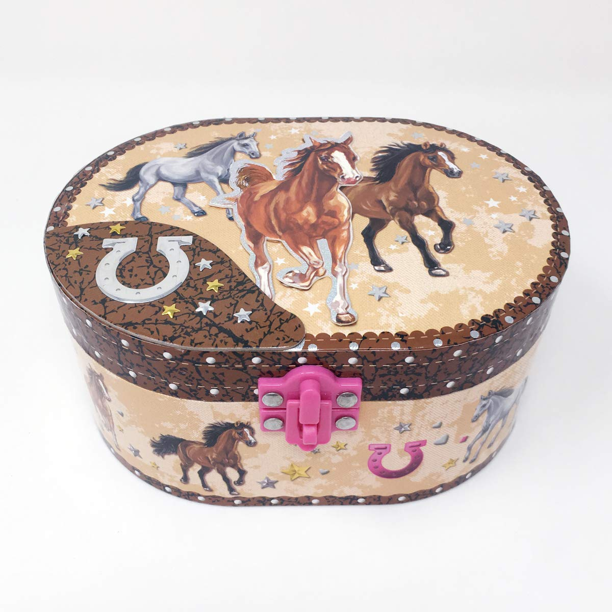 Horse oval shape musical jewelry box