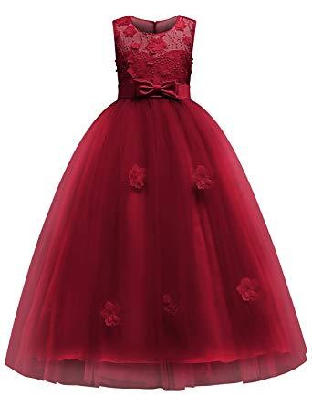BLEVONH sleeveless lace dress for girls